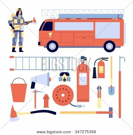 Fireman And Equipment. Professional Rescue Gear, Firefighter Uniform, Extinguisher And Hydrant. Glov