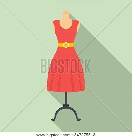 Woman Dress On Mannequin Icon. Flat Illustration Of Woman Dress On Mannequin Vector Icon For Web Des