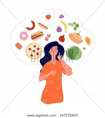Healthy Unhealthy Food. Junk Vs Good Foods Diet Balance. Woman Choose Between Fresh Meals And Fast F
