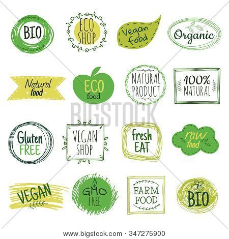 Eco Emblems. Vegan Green Bio Food, Gluten Free Natural Product Labels. Organic Healthy Eat Badges Ve