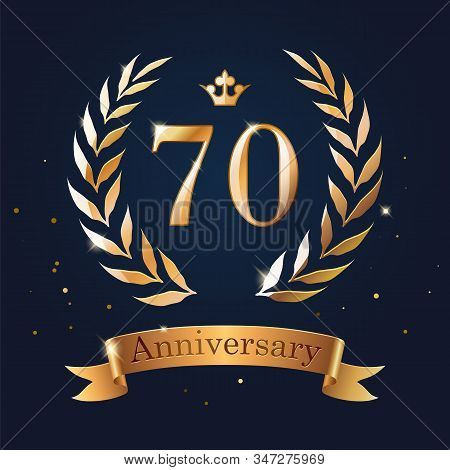 70 Anniversary Badge Design With Laurel, Ribbon And Crown.