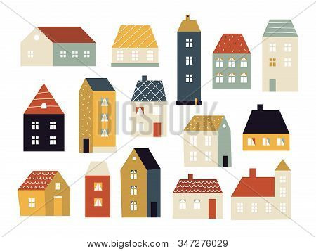 Cartoon Houses. Various Small Cute Houses, Simple Home Facade With Doors And Windows, Building Exter