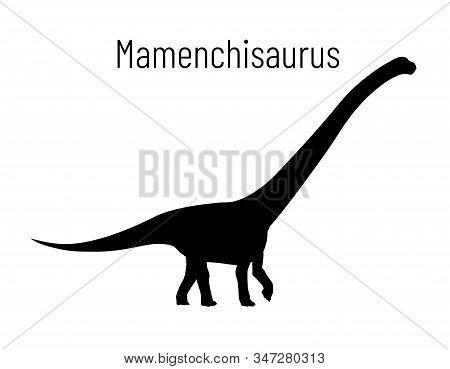 Mamenchisaurus. Sauropodomorpha Dinosaur. Monochrome Vector Illustration Of Silhouette Of Prehistori
