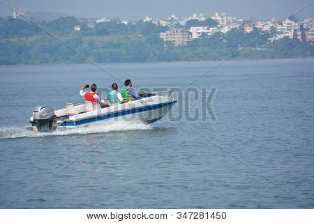 Bhopal, Madhya Pradesh, India - November 20, 2019: Unidentified People Riding Boat During Summer Vac