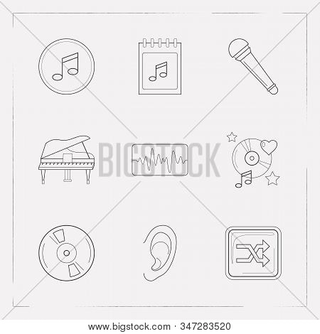 Set Of Audio Icons Line Style Symbols With Vinyl, Shuffle Button, Concert Day And Other Icons For Yo