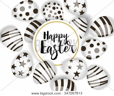 Vector Illustration Happy Easter Background. Top View Of Easter Eggs. Greeting Cards And Decoration