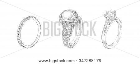 Pencil Drawing Of Rings With Precious Stones On A White Background. Isolated Sketch. White Backgroun