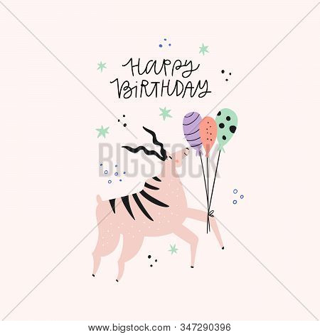 Antelope With Birthday Greeting Flat Vector Illustration