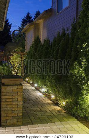 Caminho do jardim do quintal à noite