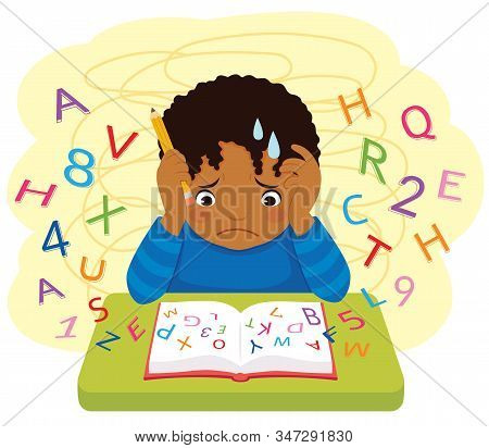Dyslexia And Learning Difficulties. Dark Skinned Confused Kid Looking At Letters And Numbers Flying
