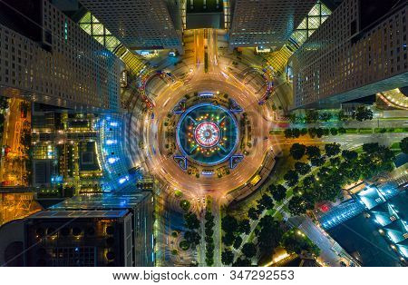 Top View Of The Singapore Landmark Financial Business District With Skyscraper. Fountain Of Wealth A