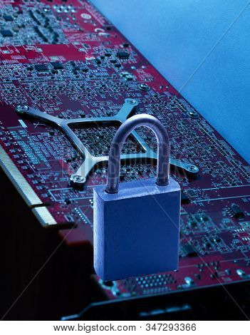 On The Digital Board There Is A Lock Against Hacking A Symbol Of Reliability From Hacker Attacks