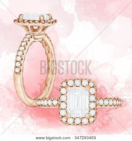 Pencil Drawing Of A Ring With A Red Gem On A White Background. Isolated Sketch. Wedding Decoration I