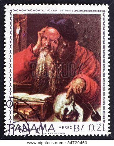 Postage stamp Panama 1967 St. Hieronymus by Albrecht Durer