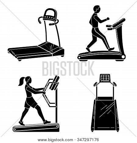 Treadmill Icons Set. Simple Set Of Treadmill Vector Icons For Web Design On White Background