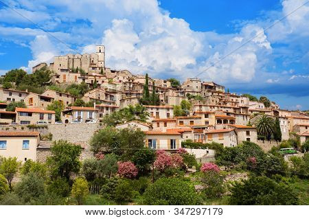 Village Of Eus In Pyrenees-orientales Before Rain, Languedoc-roussillon. Eus Is Listed As One Of The