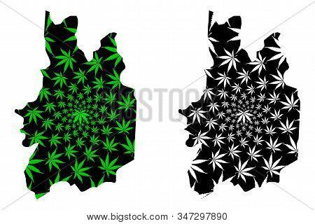 Uva Province (democratic Socialist Republic Of Sri Lanka, Ceylon) Map Is Designed Cannabis Leaf Gree