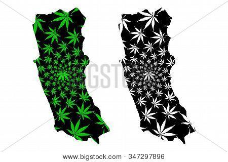 Western Province (democratic Socialist Republic Of Sri Lanka, Ceylon) Map Is Designed Cannabis Leaf