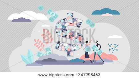 Health Care Costs Concept, Flat Tiny Person Vector Illustration. Creative Stylized Dollar Sign With