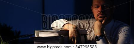 Portrait Of Smart Businessman Sitting Indoors, Closing Tired Eyes And Slumbering After Intense Tirin