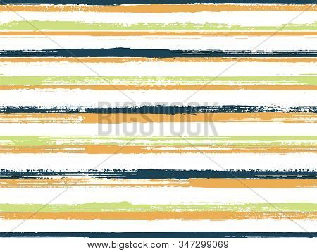 Stripes Watercolor Paintbrush Seamless Vector Pattern. Retro Background With Lines Texture. Distress