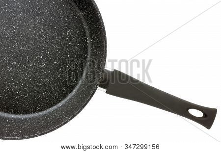 Part Of Round Cast Iron Griddle Pan Isolated On White Background