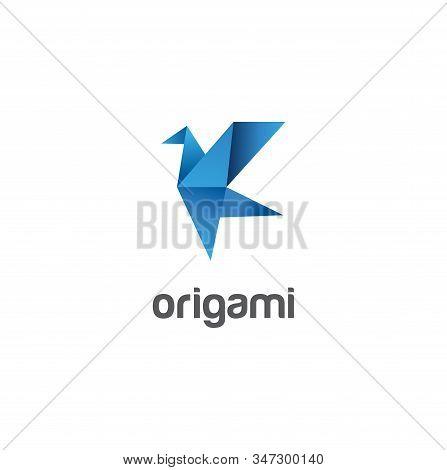 Origami Bird Logo Abstract Design Template . Flying Bird Logo Origami Abstract Design Vector Templat