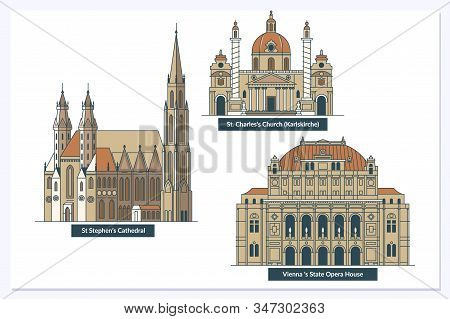 Vienna Landmarks And Monuments Isolated On White Background In Editable Vector File.