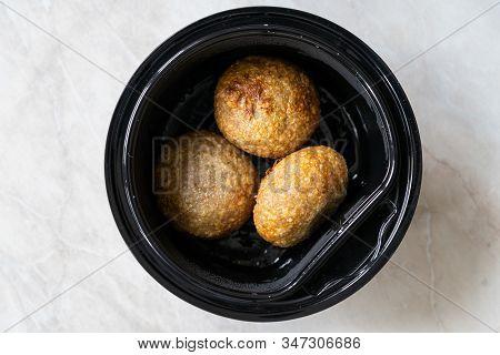 Take Away Lebanese Kibbeh, Stuffed Meatballs Food, Falafel, Icli Kofta, Quibe In Plastic Container B