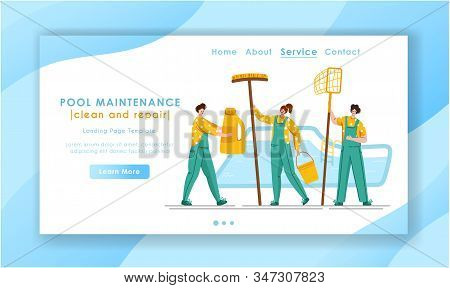 Landing Page - Pool Maintenance Or Cleaning Service, Group Of Miniature People In Uniform, Cleaning