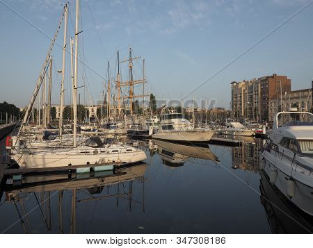 Ostend, Belgium - 7 August 2018: Image Of The Marina Mercator In Ostend.