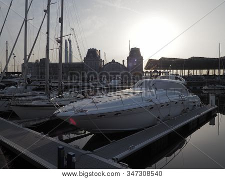 Ostend, Belgium - 7 August 2018: Image Of The Marina Mercator In Ostend With The Railway Station In