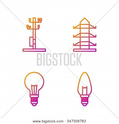 Set Line Light Bulb, Light Bulb With Concept Of Idea, High Voltage Power Pole Line And High Voltage