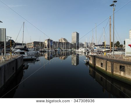 Ostend, Belgium - 7 August 2018: Image Of The Entrance To The Mercator Port In Ostend.