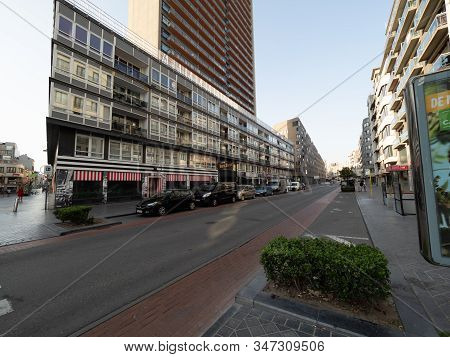 Ostend, Belgium - 7 August 2018: Image Of The Europacentrum, With Its 103.9 Meters The Highest Resid