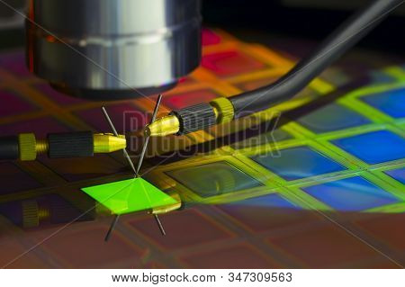 Close Up Of Examining A Sample Of Oled Display With Probe Station Under The Microscope In Laboratory