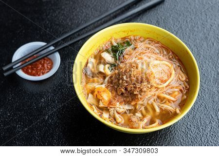 Bowl Of Penang Prawn Mee, Spicy Strong Aromatic Prawn Soup, Popular Noodle In Malaysia