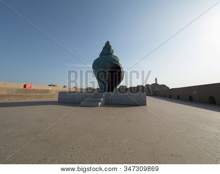 Ostend, Belgium - 7 August 2018: Image The Artwork Monument For A Wullok, By Stief Desmet. The Artwo