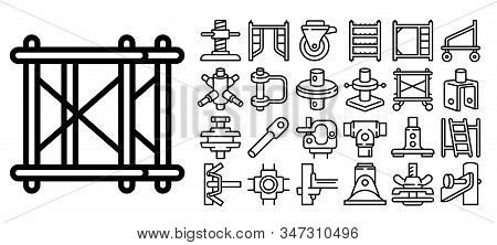 Scaffolding Icons Set. Outline Set Of Scaffolding Vector Icons For Web Design Isolated On White Back