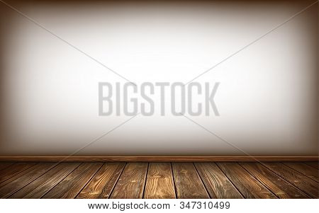 White Wall, Wooden Floor And Baseboard With Aged Surface, Realistic Vector Illustration. Vintage Wal