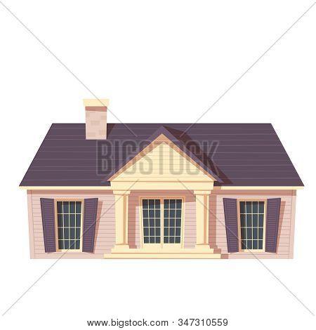 Urban Retro Colonial Style Building Cartoon Vector Illustration. Old Residential Building, Victorian