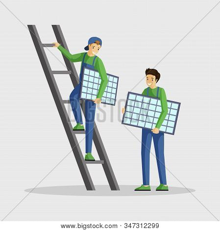 Workers Installing Solar Panels Flat Illustration. Specialists Setting Photovoltaic Module, Engineer