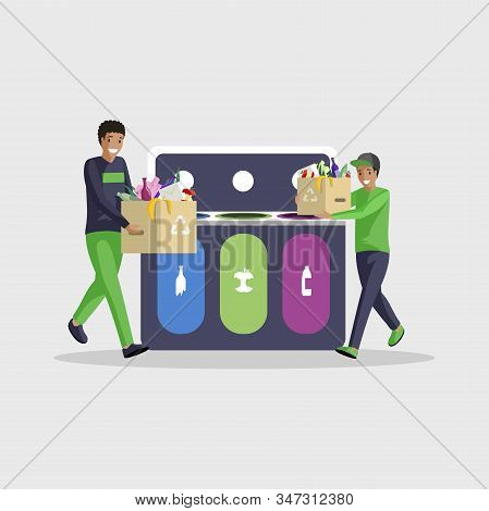 People Sorting Waste Flat Vector Illustration. African American Boys Isolated Cartoon Characters Sep