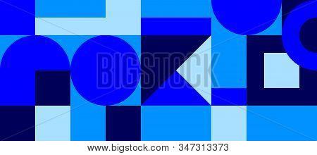 Bauhaus Geometric Minimal Seamless Pattern, Vector Color Template, Blue Swiss Background