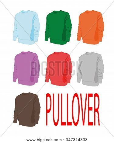 Pullover Different Colors Set Realistic Vector Illustration Isolated