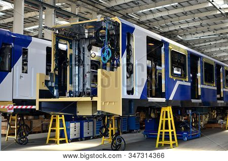Inside Of The Rail Car Assembly Plant. Industrial Workshop For The Production Of European High Speed