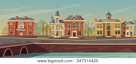 19th Century Town Street With European Buildings And Lake Promenade. Vector Cartoon Illustration Of