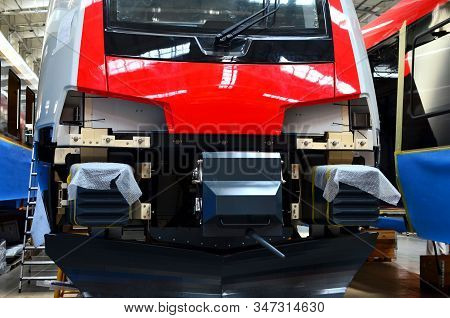 Inside Of The Rail Car Assembly Plant. Industrial Workshop For The Production Of High Speed Trains.
