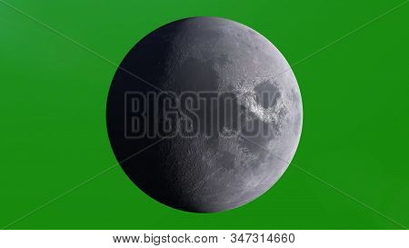 Planet Moon, Luna, Lunar Viewed From Space. Perfect For Your Own Background Using Green Screen. 3d I