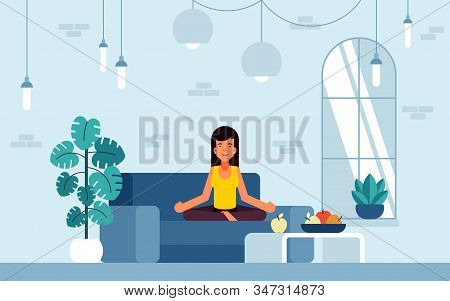Vector Illustration Of Feng Shui, She Achieved An Energy Balance By Creating A Favorable Space Aroun